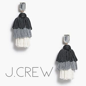 NWT J. Crew grey black ombré tassel earrings + bag